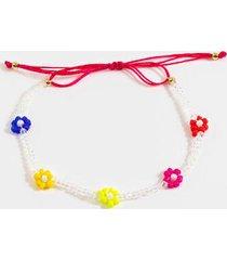 claudia pull tie floral bracelet - multi
