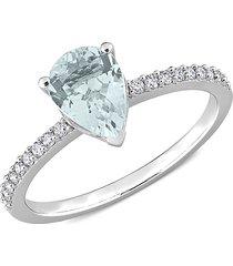 saks fifth avenue women's 14k white gold, aquamarine & diamond ring - size 5