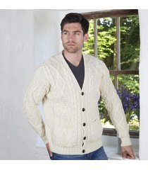 pure wool traditional v neck cardigan cream small