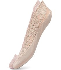 ladies steps, lace steps, 2-pack lingerie socks footies/ankle socks creme vogue