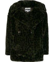apparis amelia leopard coat - green