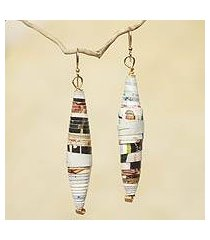 recycled paper dangle earrings, 'colored pencil' (ghana)