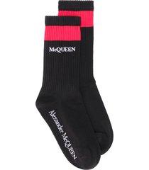 alexander mcqueen ribbed logo socks - black