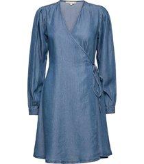 srsasha ls wrap dress knälång klänning blå soft rebels