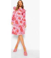 bloemenprint midi jurk met lange mouwen en geplooide schouders, pink