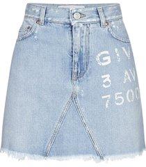 givenchy logo print denim miniskirt