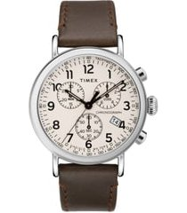 timex(r) standard chronograph leather strap watch, 41mm in brown/white/silver at nordstrom