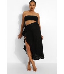 plus broderie strand sarong met ruches, black
