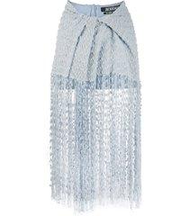 la capri fringed skirt blue