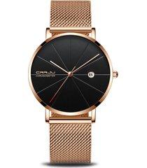 crrju unisex minimalista ultra sottile orologi cinturino in acciaio inossidabile con cinturino in acciaio con data