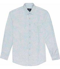 camisa manga larga en denim de paisley slim fit para hombre 88860