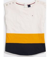 tommy hilfiger women's adaptive colorblocked sleeveless top snow white/golden glow - xs