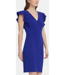 dkny v-neck ruffle cap sleeve sheath dress