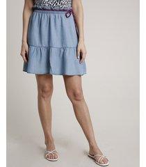 saia jeans feminina triya curta com cinto cadarço azul claro