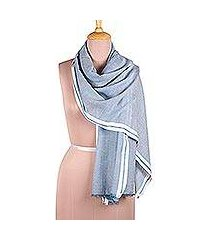 viscose shawl, 'cadet blue saga' (india)