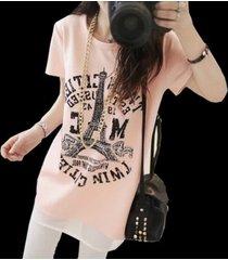 pf066 elegant long t-shirt w gauze hemline,buy 1 get 1 free,size s-xl, pink
