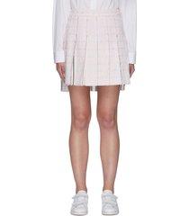 pleat tweed mini skirt