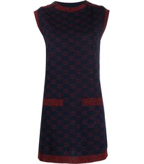 gucci monogram pattern sleeveless jumper dress - blue