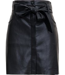 nanushka black vegan leather skirt with bow belt