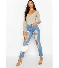 high waist distress mom jeans, mid blue