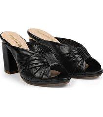 sandalia negra en cuero cruzado versilia lilipink