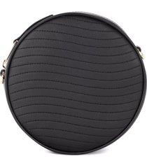 furla swing mini shoulder bag in black leather with shoulder strap
