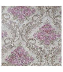 kit 3 rolos de papel de parede fwb lavável floral rosa fundo bege