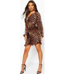 leopard print ruched back midi dress, brown