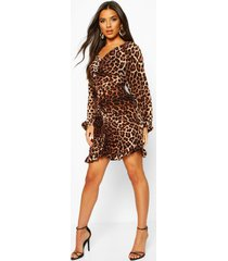 leopard print ruched back midi dress, brown