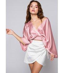 akira make me blush batwing satin blouse