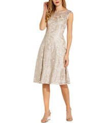 adrianna papell embroidered a-line dress