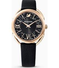 orologio crystalline glam, cinturino in pelle, nero, pvd oro rosa