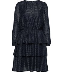 u6060, woven dress on knee l/s korte jurk blauw saint tropez