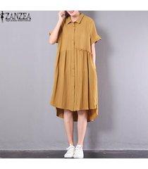 zanzea botones de solapa de manga corta de verano para mujer vestido largo de una línea de camiseta -amarillo
