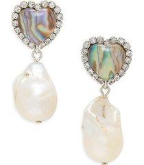 dannijo women's zahia silverplated, 19mm freshwater baroque pearl, resin stone & glass crystal earrings
