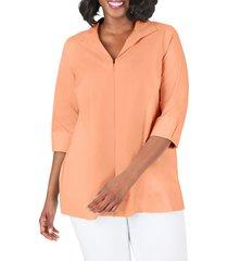 women's foxcroft lydia zip front stretch cotton blend blouse, size 24w - orange