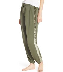women's splendid velvet stripe pajama pants, size small - green