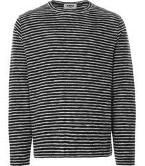 ymc x cotton jersey stripe sweatshirt | black/ecru | p7pat-01