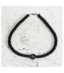 tiger's eye and recycled plastic beaded pendant necklace, 'eco gem' (ghana)