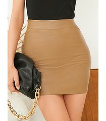 minifalda de cintura alta de cuero sintético yoins