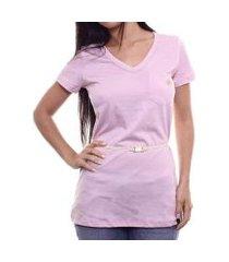 camiseta alma de praia maxi v c/ cinto feminina