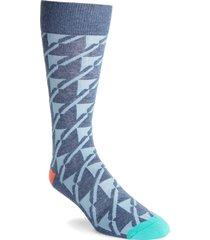 men's fun socks geo pattern socks, size one size - blue