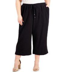 calvin klein plus size textured cotton cropped pants