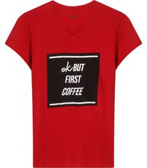 camiseta m/c con screen ok but first coffe color rojo, tallam