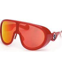 women's moncler 73mm oversize shield sunglasses - red/ brown w red