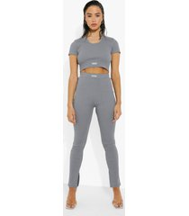 geribbelde premium leggings met split, charcoal