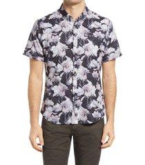 men's 7 diamonds sunset floral slim fit short sleeve performance button-down shirt, size xx-large - black