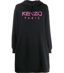 kenzo logo embroidered hoodie dress - black
