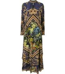 camilla high collar kaftan dress - blue