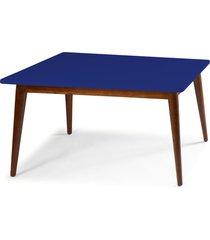 mesa de madeira retangular 140x90 cm novita 609 cacau/azul noite - maxima